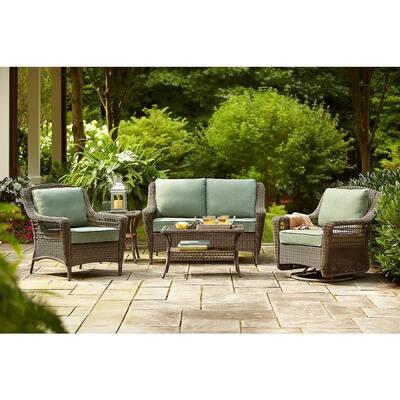 Spring Haven Grey Wicker Outdoor Patio Coffee Table