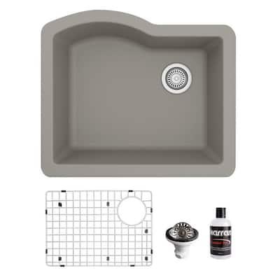 QU-671 Quartz/Granite 24 in. Single Bowl Undermount Kitchen Sink in Concrete with Bottom Grid and Strainer