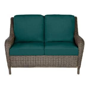 Cambridge Gray Wicker Outdoor Patio Loveseat with CushionGuard Malachite Green Cushions