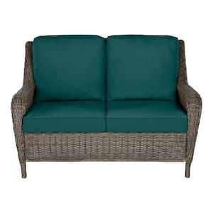 Cambridge Gray Wicker Outdoor Patio Loveseat with CushionGuard Malachite Green Cushions