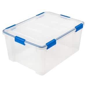WEATHERTIGHT 60 Qt. Multi-Purpose Storage Box in Clear with Blue Buckles