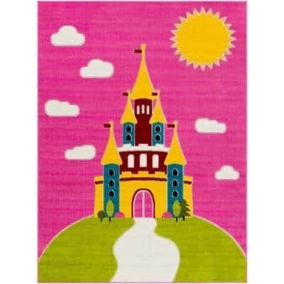 Princess Castle Multi-Colored Pink 7 ft. 10 in. x 10 ft. Area Rug