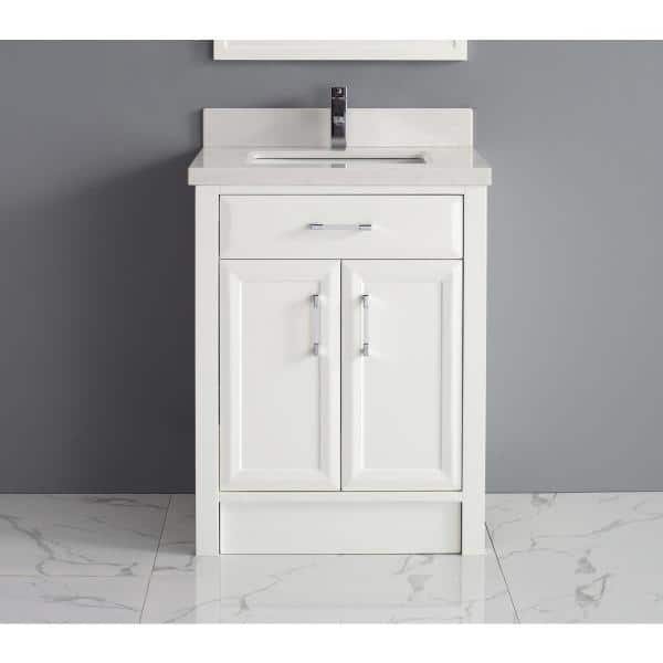 Studio Bathe Calais 28 In Vanity In White With Solid Surface Marble Vanity Top In White Calais 28 Wh Ssc The Home Depot