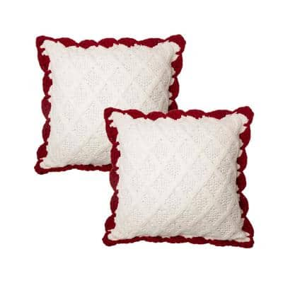 18 in. H White Knitted Polyester Pillow Cover (2-Pack)
