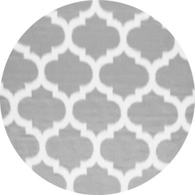 Trellis Faux Sheepskin Plush Shag Gray 5' Round Rug