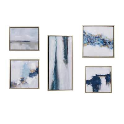 Blue Drift 5-Piece Multi Framed Embellished Canvas Gallery Wall Art Set