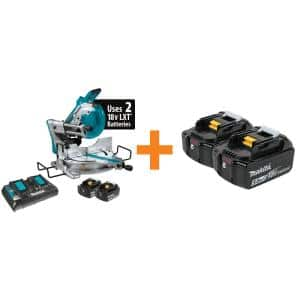 18-Volt X2 LXT 10 in. Brushless Cordless Dual-Bevel Sliding Compound Miter Saw Kit Laser 5.0 Ah with Batteries 5.0 Ah