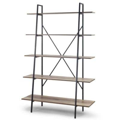 August 71.75 in. Light Brown Weathered Oak Particle Board 5- -Shelf Leaning Modern Etagere Bookcase with Metal Frame