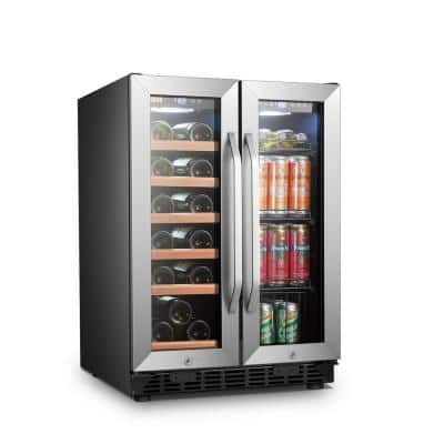 25 in. 18-Bottle 55-Can Stainless Steel Dual Zone Combo Wine and Beverage Refrigerator