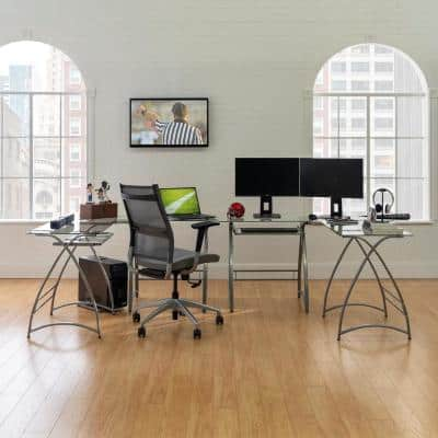 102 in. U-Shaped Silver Metal Glass Top Computer Desks with Keyboard Tray