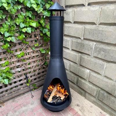 56 in. Steel Outdoor Wood Burning Chiminea Fire Pit with Log Poker Grate and Cover