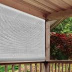 White Cordless Light Filtering UV Protection PVC Manual Roll-Up Sun Shade 96 in. W x 72 in. L