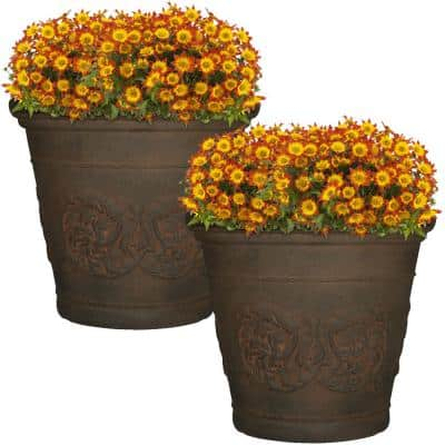 Arabella 20 in. Sable Poly Outdoor Flower Pot Planter (2-Pack)