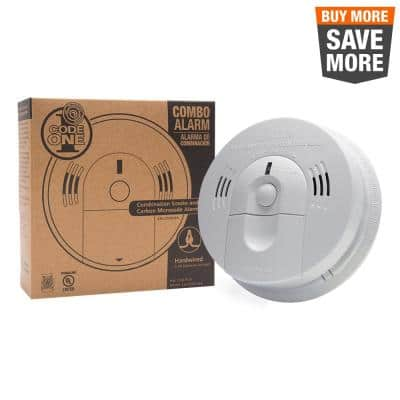 Code One Hardwired Smoke and Carbon Monoxide Combination Detector with Ionization Sensor and Voice Warning