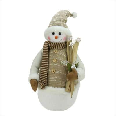20 in. Alpine Chic Brown and Beige Snowman with Skiis and Mistletoe Christmas Decoration