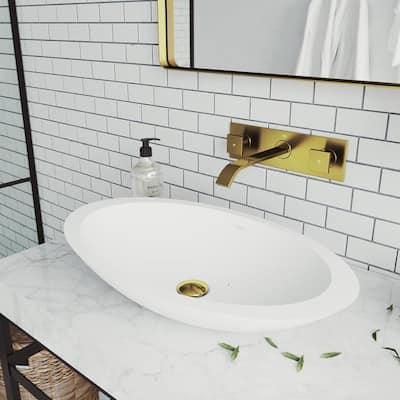 Titus 2-Handle Wall Mount Bathroom Faucet in Matte Gold