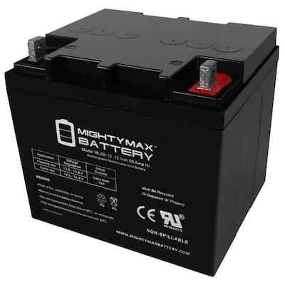 12-Volt 50 Ah Rechargeable Sealed Lead Acid (SLA) Battery