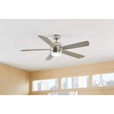 Averly 52 in. Integrated LED Brushed Nickel Ceiling Fan with Light and Remote Control with Color Changing Technology