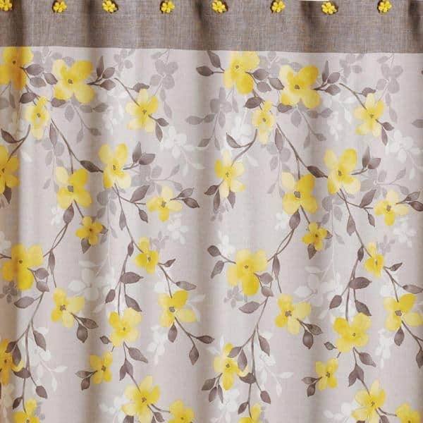 Saay Knight Spring Garden 70 In W, Shower Curtains Gray And Yellow
