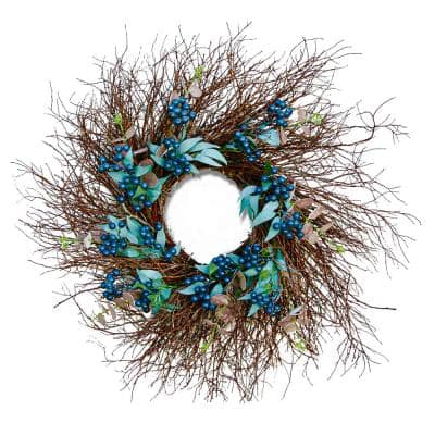 24 in. Artificial Spring Blueberry Wreath