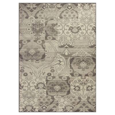 Elegant Damask Grey/Ivory 8 ft. x 11 ft. Area Rug