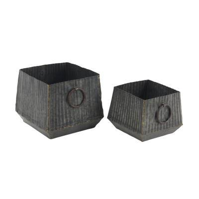 Industrial 10 in. and 12 in. Square Corrugated Iron Planters (Set of 2)