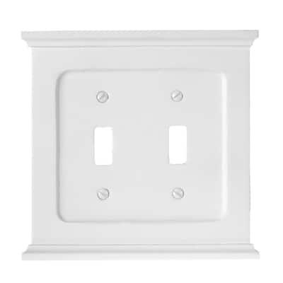 Mantel 2 Gang Toggle Wood Wall Plate - White