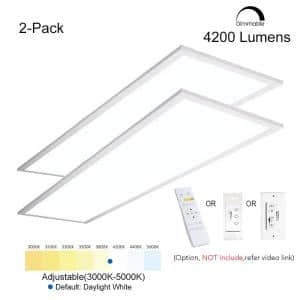 1 ft. x 4 ft. 40W Integrated LED White Troffer Color Dimmable Drop Ceiling Flat Panel Light 4200LM 3000K-5000K (2-Pack)