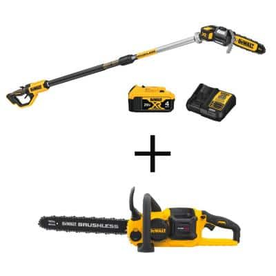 8 in. 20V MAX Lithium-Ion Cordless Pole Saw Kit with 16 in. 60V MAX Lithium-Ion FLEXVOLT Brushless Chainsaw (Tool Only)