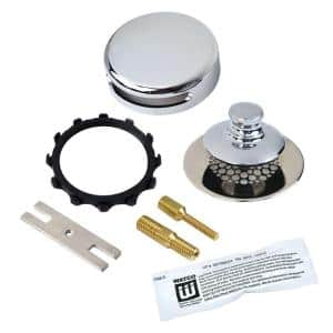 Universal NuFit Push Pull Bathtub Stopper with Grid Strainer, Innovator Overflow Silicone, Two Pins Kit in Chrome Plated