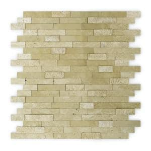 Cairo Beige 11.77 in. x 11.57 in. x 5 mm Stone Self-Adhesive Wall Mosaic Tile