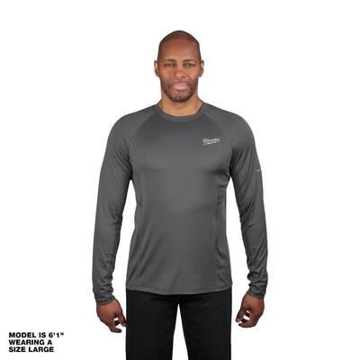 Men's Large Gray Work Skin Long Sleeve Mid Weight Performance Shirt
