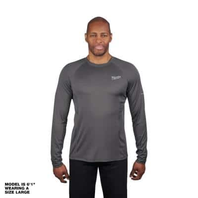 Men's Extra Large Gray Work Skin Long Sleeve Mid Weight Performance Shirt