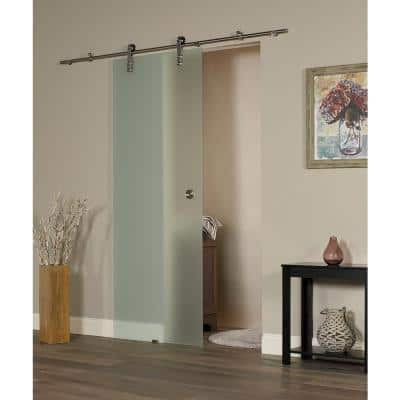 38 in. x 97 in. Ice Glass Sliding Barn Door with Hardware