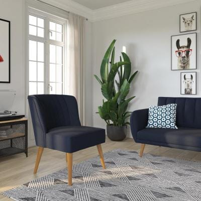 Brittany Navy Blue Linen Upholstered Accent Chair