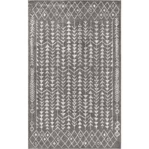 Ziri Moroccan Geometric Grey/Cream 8 ft. x 10 ft. Area Rug