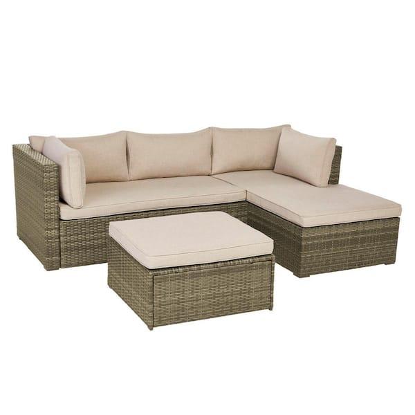 Hampton Bay Valley Peak 3 Piece All, Patio Furniture 3 Piece Sectional Sofa Resin Wicker Beige