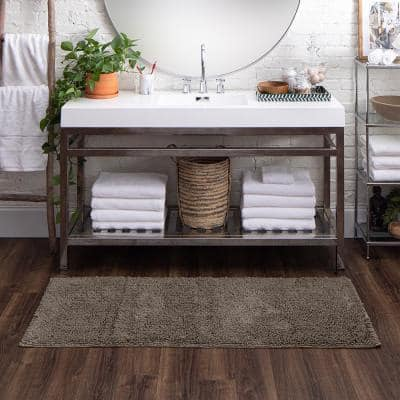 Classic Cotton ll Cool Grey 24 in. x 60 in. Cotton Bath Mat