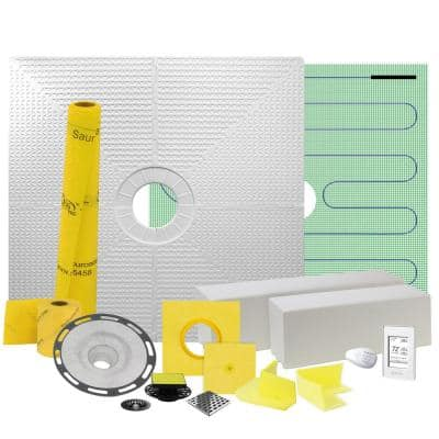 Pro GEN II 48 in. x 48 in. Floor Heating and Shower Waterproofing Kit with Center Drain and ABS Flange