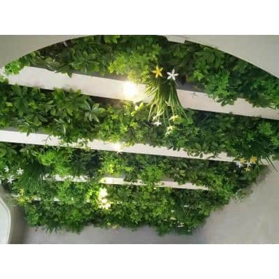 """20"""" x 20"""" Balcony Bliss w/ Flowers-Artificial Boxwood Hedges, Living Wall Panels (12 Piece)"""