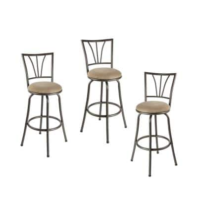 Stetson 36 in. Light Brown Cushioned Adjustable Height Swivel Bar Stool (Set of 3)
