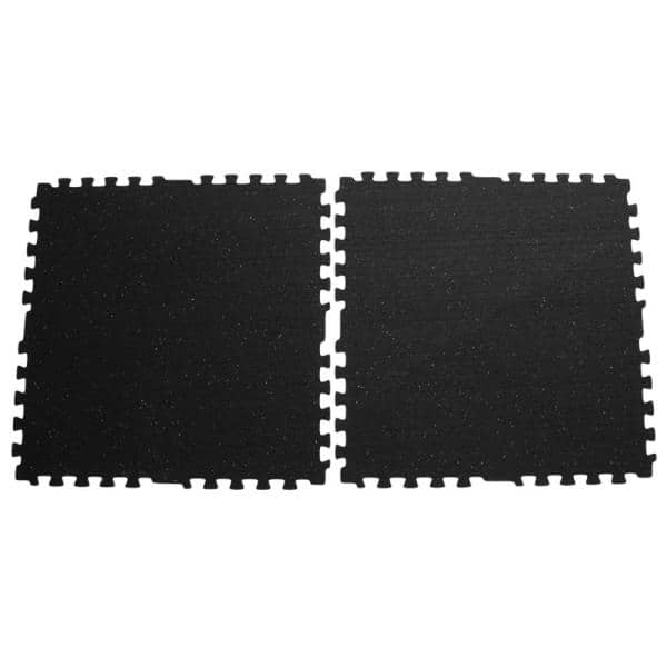 Rubber Cal Z Cycle Tiles 3 8 In X 29 In X 29 In Black With White Speckles Interlocking Rubber Mat 24 Pack 135 Sq Ft 03 221 24pk The Home Depot