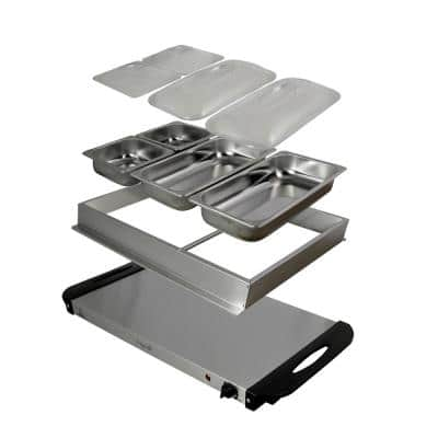 1.5 L Stainless Steel Warming Tray with 3 Crocks