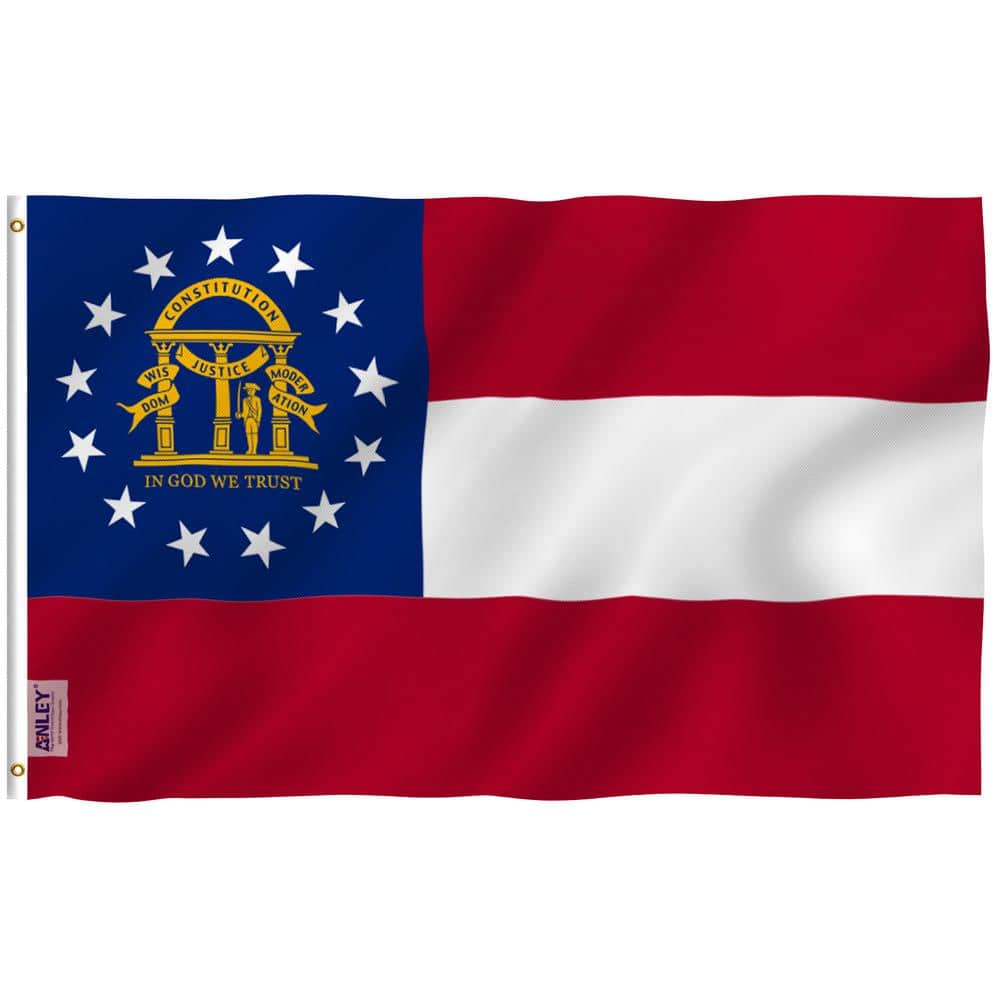 Anley Fly Breeze 3 Ft X 5 Ft Polyester Georgia State Flag 2 Sided Flags Banners With Brass Grommets And Canvas Header A Flag Stategeorgia The Home Depot