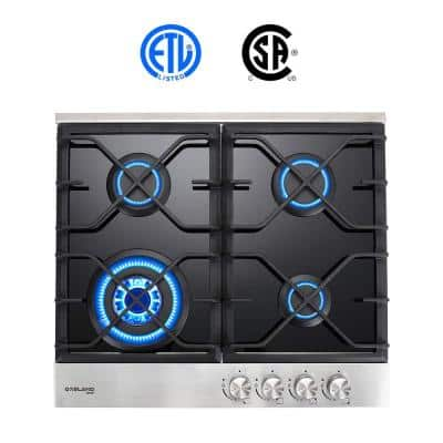 24 in. Built-in Gas Stove Top LPG Natural Gas Cooktop in Black Tempered Glass with 4-Sealed Burners, ETL
