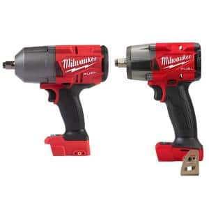 M18 FUEL 18-Volt Lithium-Ion Brushless Cordless 1/2 in. Impact Wrench with Mid Torque Impact Wrench (2-Tool)