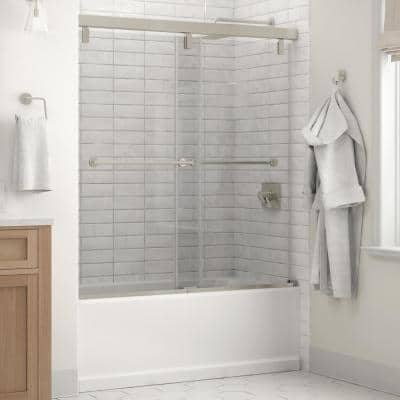 Everly 60 in. x 59-1/4 in. Mod Semi-Frameless Sliding Bathtub Door in Nickel and 1/4 in. (6mm) Clear Glass