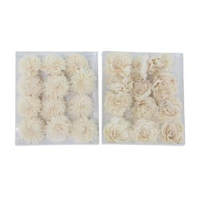 White Sola Boxed Carnation and Rose Flowers (Set of 2)