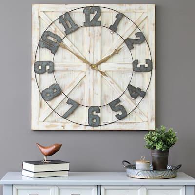 White Rustic Farmhouse Wall Clock
