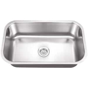 Undermount 18-Gauge Stainless Steel 29-3/4 in. 0-Hole Single Bowl Kitchen Sink in Brushed Stainless